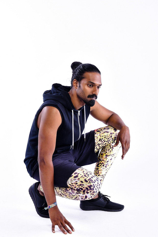 Man posing in Kapow Meggings Bengal leopard print men's leggings
