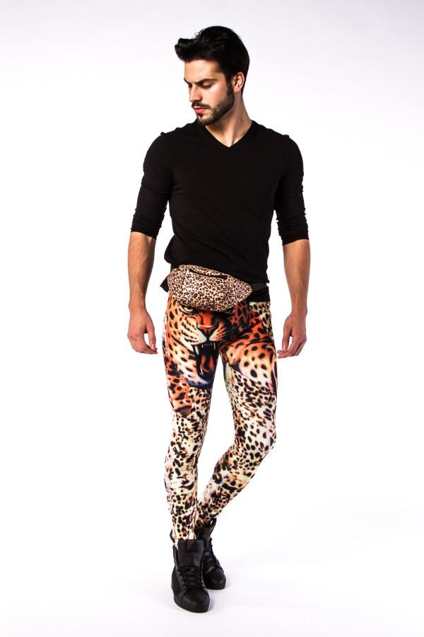 Bengal Brown Leopard Print Bum Bag with model