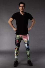 Man posing in Kapow Meggings jurassic Park Dinosaur men's leggings