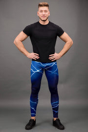 man posing wearing blue lightning leggings