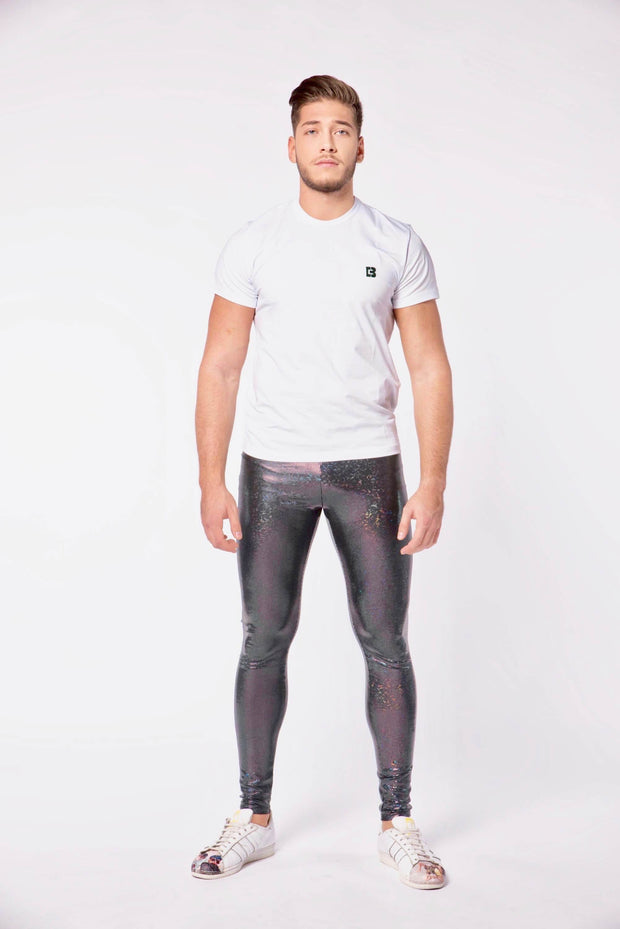Black Glitter Men's Leggings - Holographic Glitter