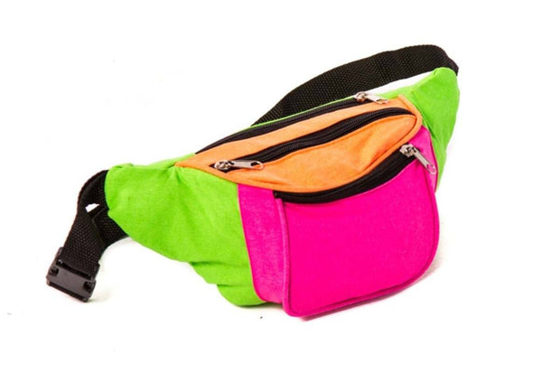 Neon Rave Multi-Colour Canvas Bum Bag
