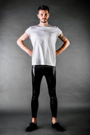Man posing in Kapow Meggings black wet look men's leggings