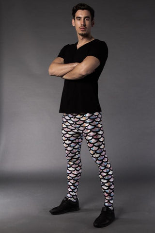 Man posing in Kapow Meggings multi-coloured scaled men's leggings