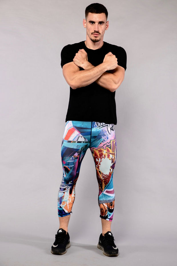 Blue Graffiti ¾ Compression Leggings