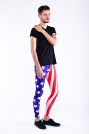 Man posing Kapow Meggings USA flag blue white and red men's leggings one side view