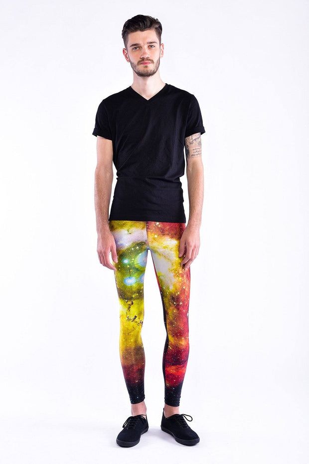 Man posing in Kapow Meggings multicoloured cosmos print men's leggings