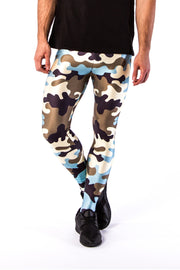 Close up of Kapow Meggings army camouflage men's leggings