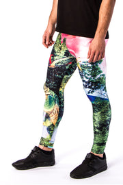 Close up of Kapow Meggings jurassic park dinosaur men's leggings