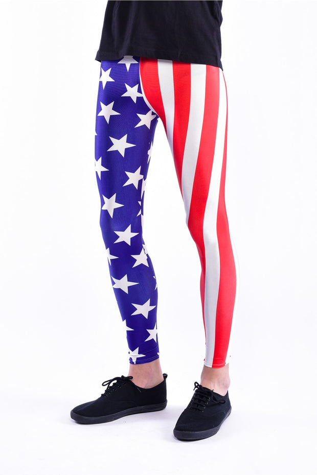 Close up of Kapow Meggings USA flag men's leggings
