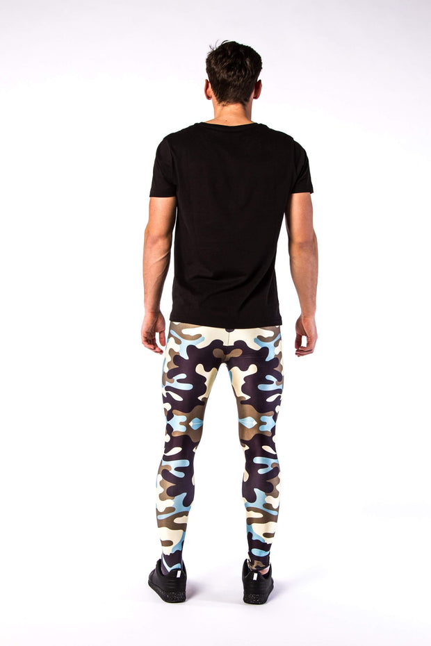 Kapow Meggings army camouflage men's leggings from behind