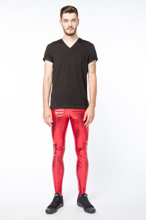 Red Peril Meggings - Metallic