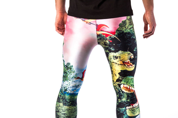 Kapow Meggings jurassic Park Dinosaur men's leggings close up zoom