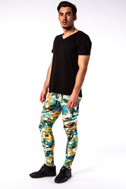 Man posing in Kapow Meggings graffiti themed men's leggings one side view