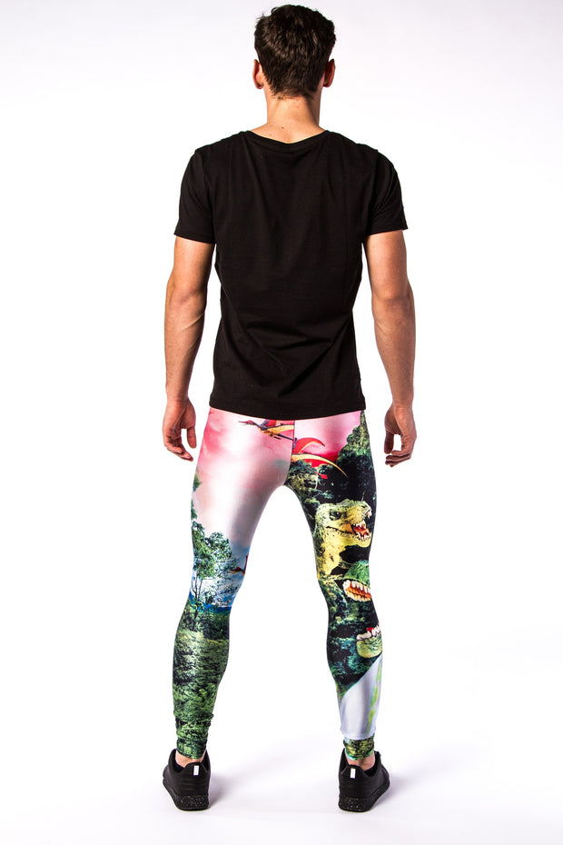 Man posing in Kapow Meggings jurassic Park Dinosaur men's leggings from behind