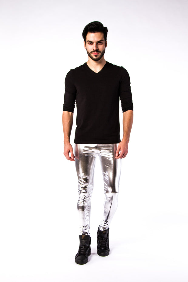 Man posing in Kapow Meggings silver metallic men's leggings one side view