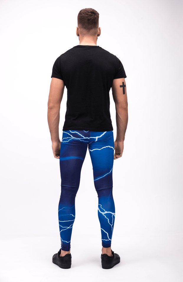 man wearing blue lightning leggings back