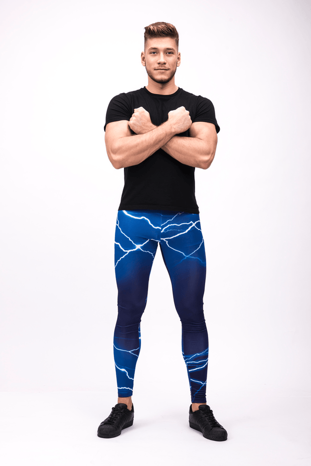 man wearing blue lightning leggings front2