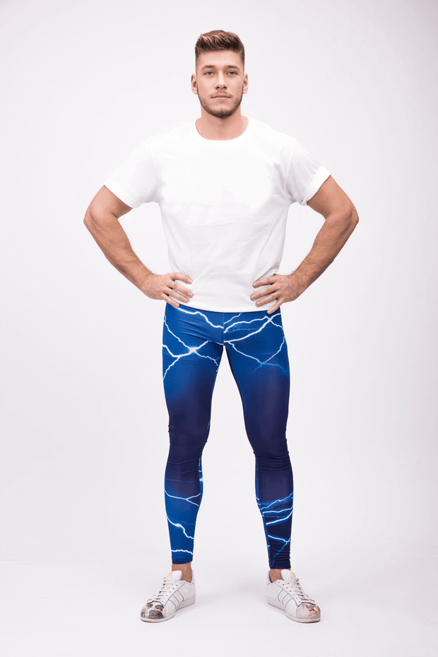 man wearing blue lightning leggings front