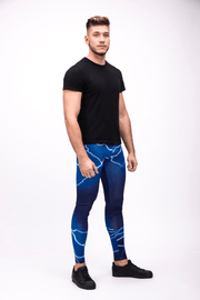 man wearing blue lightning leggings right