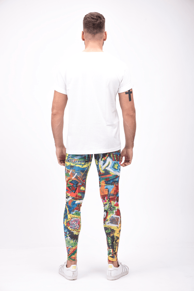 man wearing bright multi color leggings back