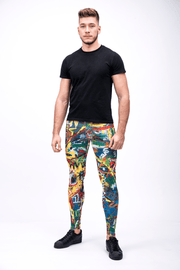 man wearing bright multi color leggings front2
