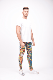 man wearing bright multi color leggings right