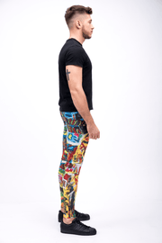 man wearing bright multi color leggings side