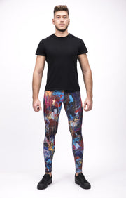 man wearing dark multi color leggings front
