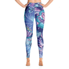 Blue Boho Floral Yoga Leggings