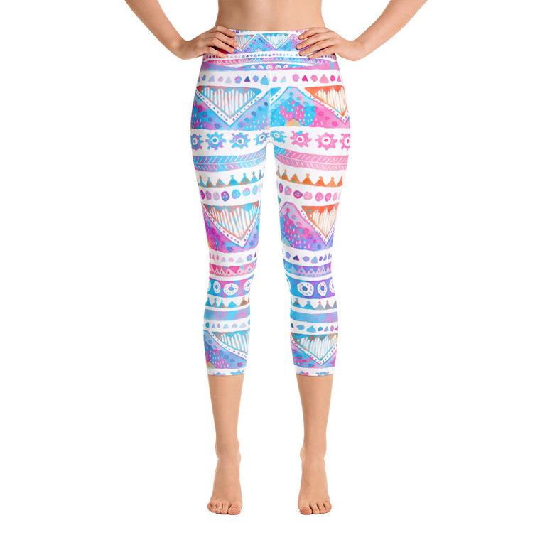 Watercolor Tribal Yoga Capri Leggings