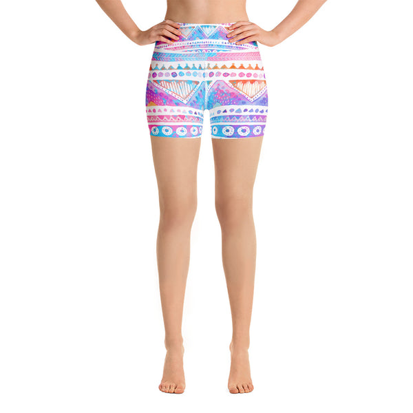 Watercolor Tribal Yoga Shorts