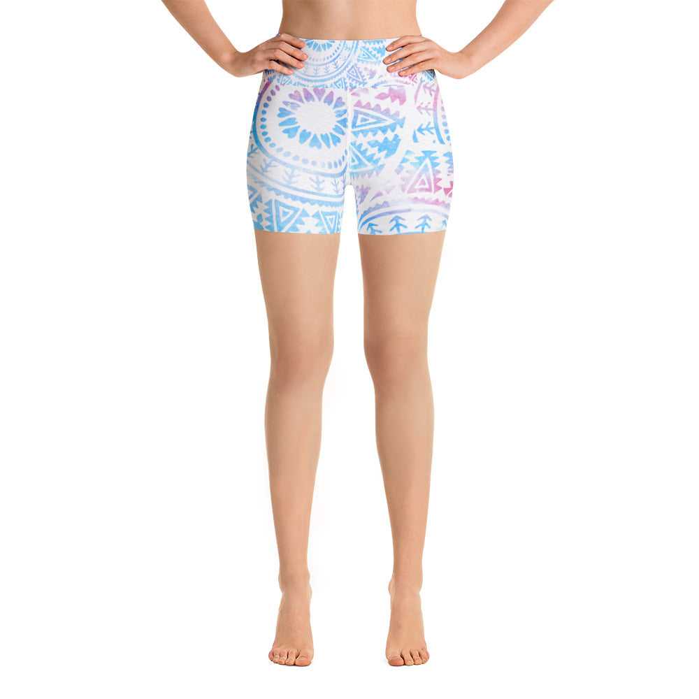 Watercolor Mandala Yoga Shorts