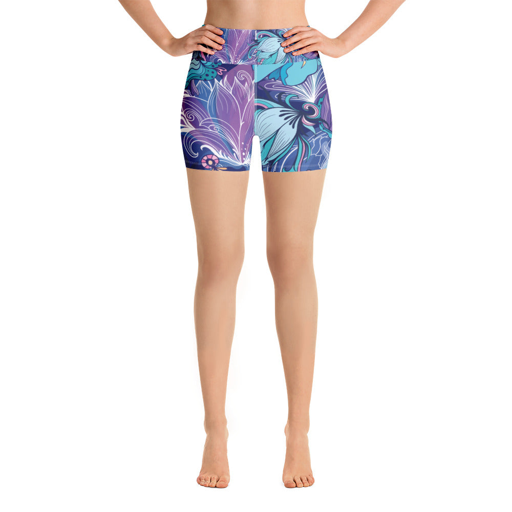Blue Boho Floral Yoga Shorts