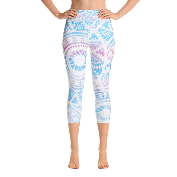 Watercolor Mandala Yoga Capri Leggings