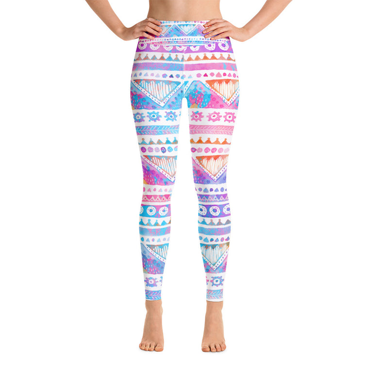 Watercolor Tribal Yoga Leggings
