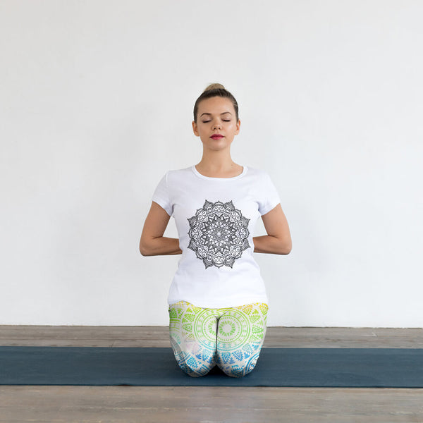 Rainbow Mandala Yoga Capri Leggings