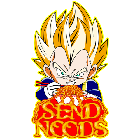 Vegeta Send Noods Large Die Cut Sticker - Teem Meme