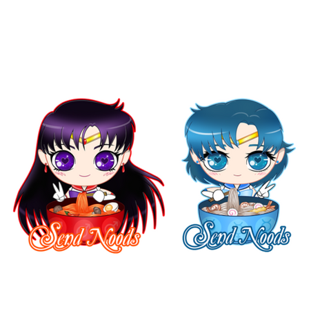 Sailor Mars Sailor Mercury SEND NOODS STICKERS - Teem Meme