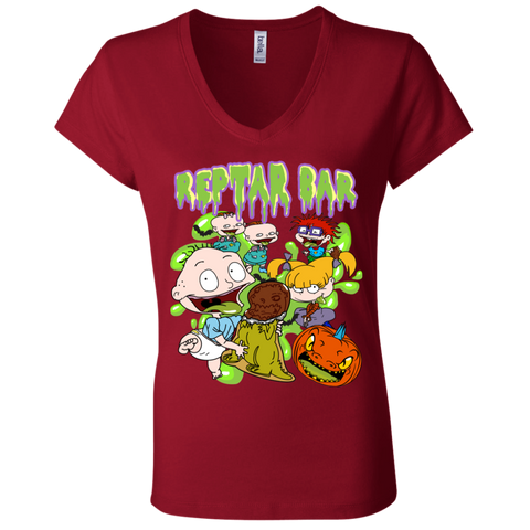 Spooky Reptar Bar Bella Ladies' V-Neck Tee - Teem Meme