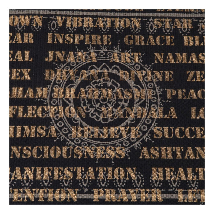 Black Cotton Rug with Grey and Gold Artwork