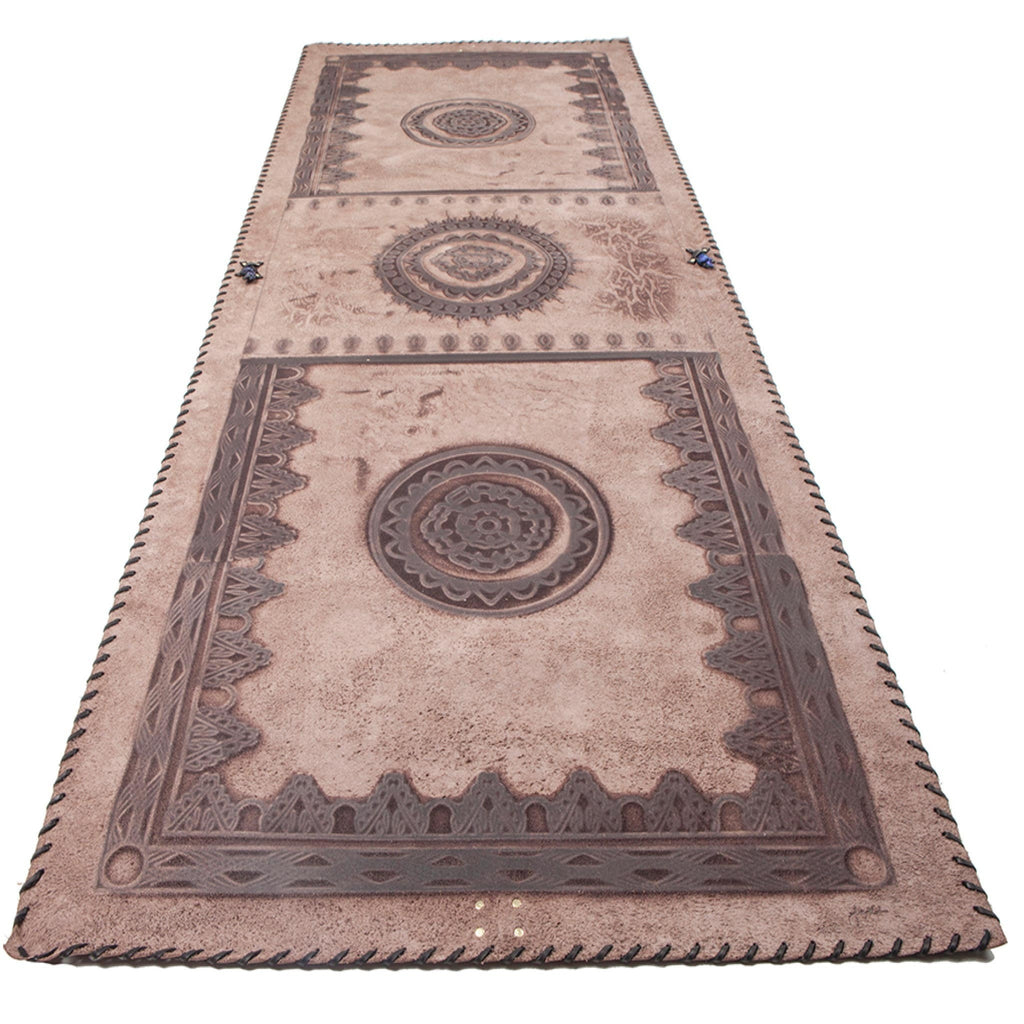 Brown Leather Mat with Black Lacing