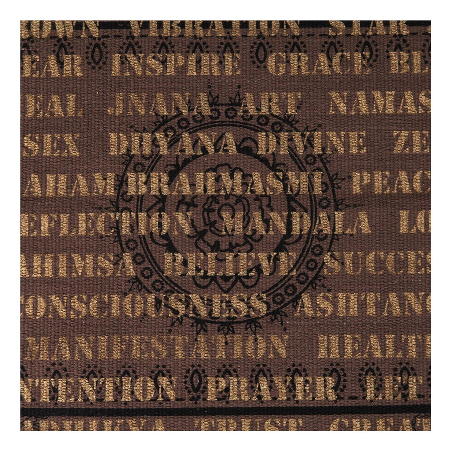 Purple Brown Cotton Rug with Gold and Black Artwork