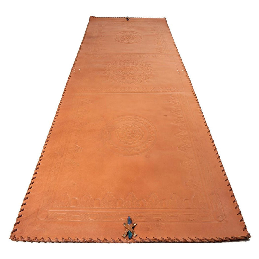Orange-Brown Leather Mat with Brown Lacing