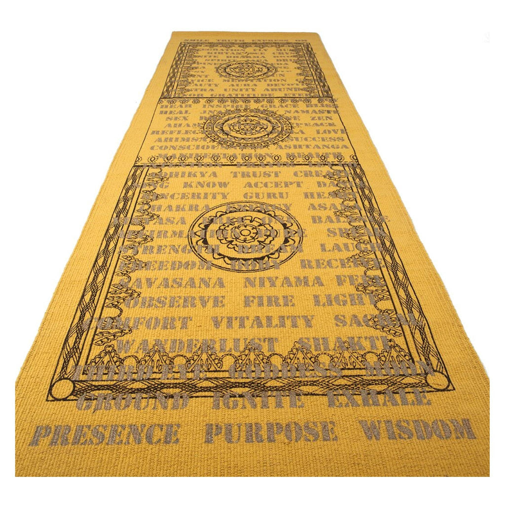 Gold Cotton Rug with Brown and Gold Artwork