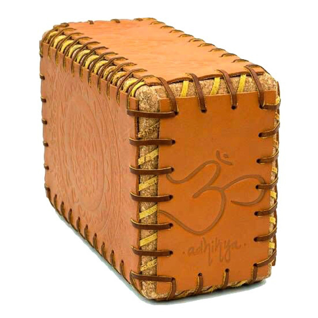Tan Leather Cork Block with Brown Lacing