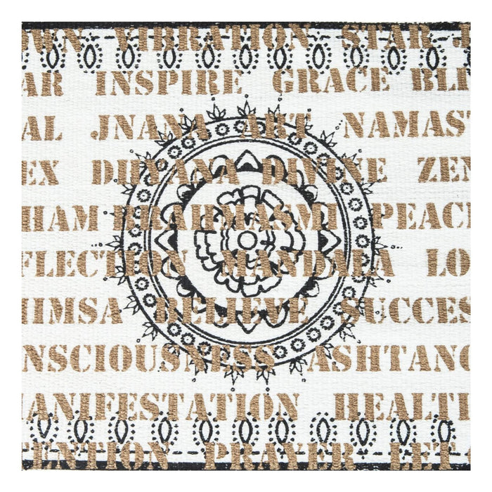 White Cotton Rug with Gold and Black Artwork