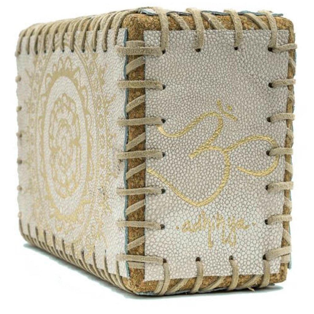 Cream Pebbled Leather Cork Block with Cream Lacing