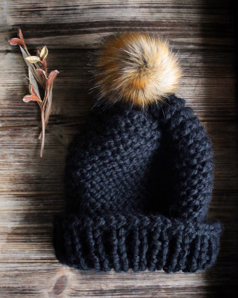Chunky Knitted Beanie with Faux Fur Pom-pom