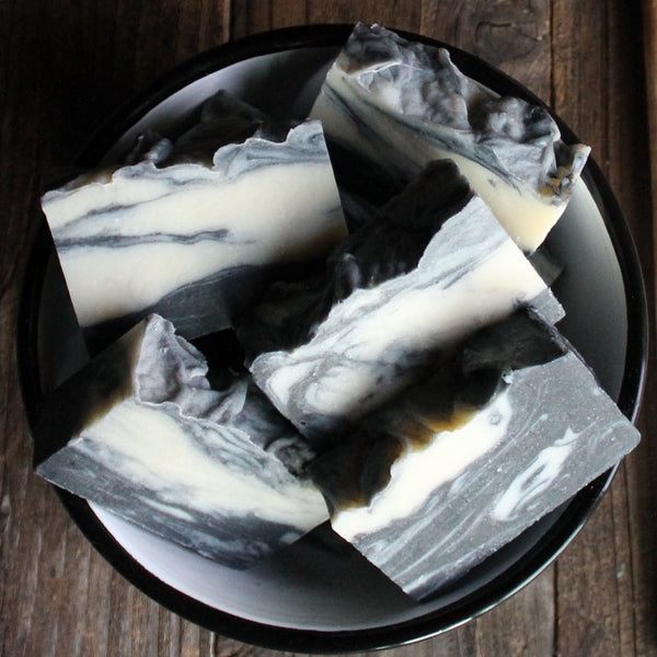 Charcoal, Peppermint + Frankincense - smaller 4 oz bar